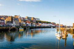 Scenic view of Whitby city in autumn sunny day Royalty Free Stock Photos