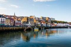 Scenic view of Whitby city in autumn sunny day Stock Images