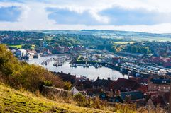 Scenic view of Whitby city in autumn sunny day Royalty Free Stock Photography