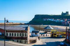Scenic view of Whitby city in sunny autumn day,UK Stock Image