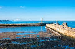 Scenic view of Whitby Pier in autumn sunny  day Stock Photography
