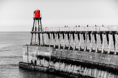 Scenic view of Whitby Pier in autumn sunny  day Royalty Free Stock Photos