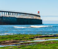 Scenic view of Whitby Pier in autumn sunny  day Royalty Free Stock Photography