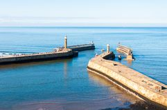 Scenic view of Whitby Pier in autumn sunny  day Stock Photos
