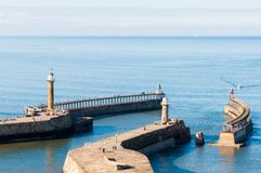 Scenic view of Whitby Pier in autumn sunny  day Stock Images