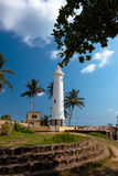 Scenic view at white lighthouse in Galle fort, Sri Lanka during Royalty Free Stock Photos