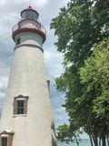 Scenic view of white Marblehead Lighthouse in Ohio Royalty Free Stock Photo