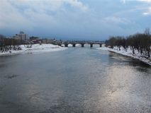 Wilkes-Barre and the Susquehanna River in Winter Royalty Free Stock Photography