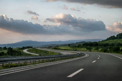 Scenic view of a winding Highway. Winding Highway through the rural landscape in Serbia stock photo