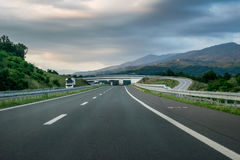Scenic view of a winding Highway. Winding Highway through the rural landscape in Serbia royalty free stock image