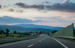 Scenic view of a winding Highway. Winding Highway through the rural landscape in Serbia royalty free stock photos