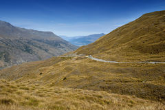 Scenic viewpoint of road, mountains, and lake in south island of New Zealand Stock Image