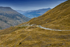 Scenic viewpoint of road, mountains, and lake in south island of New Zealand.  Royalty Free Stock Photography