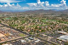 Scenic views from above in East Mesa, Arizona. Scenic views from above of golf course and monsoon clouds in east Mesa, Arizona stock image