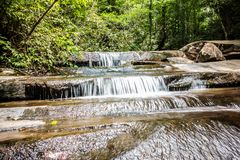 Scenic views along hiking trailat table rock mountain  south caro Stock Photo