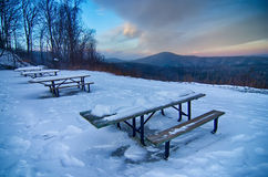 Scenic views at brown mountain overlook in north carolina at sun. Set Stock Photo