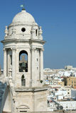 Scenic Views of Cadiz in Andalusia, Spain - Cadiz Cathedral. Skyline View of Cadiz Cathedral Tower, Andalusia Spain Royalty Free Stock Image