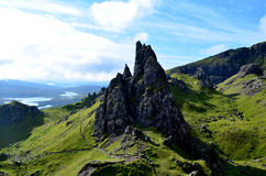 Scenic Views of Old Man of Storr. Rocky pinnacles at the Old Man of Storr Stock Photo