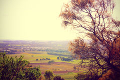 Scenic views overlooking Barossa Valley. Retro sunset filter style scenic views overlooking Barossa Valley, South Australian prominent wine growing region Royalty Free Stock Photo