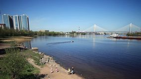 Scenic views of the River Neva  time lapse Royalty Free Stock Image