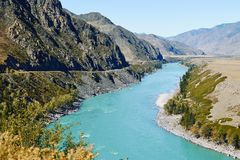 Views of the Turquoise Katun river and the Altai mountains, Russia stock photo