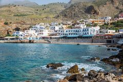 Scenic village of Hora Skafion and the mediterranean sea  in Cret, Greece. Scenic village of Hora Skafion and the mediterranean sea  in Crete, Greece Stock Image