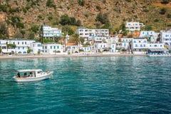 Scenic village of Loutro and the mediterranean sea  in Crete Greece. Scenic village of Loutro and the mediterranean sea  in Crete, Greece Stock Photos