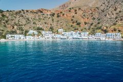 Scenic village of Loutro and the mediterranean sea  in Crete Greece. Scenic village of Loutro and the mediterranean sea  in Crete, Greece Stock Photography
