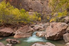 Scenic Virgin River Zion National Park Utah in Fall. The rugged scenic landscape of Zion National Park Utah in fall along the Virgin River Royalty Free Stock Photos