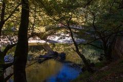 Scenic Voidomatis river and Papigo bridge in Epirus, Greece Stock Photo