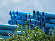 Scenic Water Pipes Storage. The traditional blue denotes water, so having PVC waterpipes in blue makes a lot of scence and is ASTM or AISI correct Royalty Free Stock Image