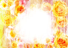Scenic watercolor abstract floral background with roses Stock Photos