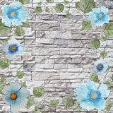 Scenic watercolor background frame with blue flowers and leaves Stock Images