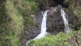 Beautiful Scenic Waterfall on the Island of Maui. A scenic waterfall along the road to Hana on the island of Maui stock footage