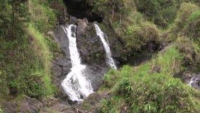 Tropical Maui waterfall. A scenic waterfall along the road to Hana on the island of Maui stock video