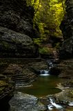 Scenic Waterfall in Autumn - Watkins Glen State Park - Watkins Glen, New York Stock Photography
