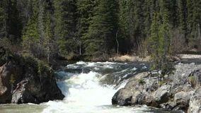A scenic waterfall in northern canada stock video footage