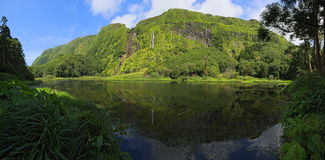 Scenic waterfalls with lake on Azores archipelago Flores (Portugal) Royalty Free Stock Images