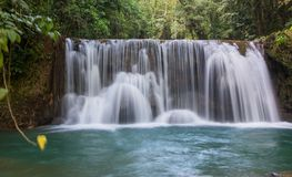 Scenic waterfalls and lush vegetation in Jamaica Stock Photography