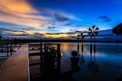 Scenic waterfront. In the evening, the beautiful waterfront restaurant stock photos