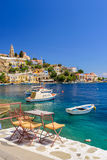 Scenic waterfront on the Greek island of Symi Stock Images