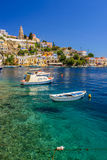 Scenic waterfront on the Greek island of Symi Stock Image
