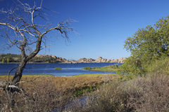 Scenic Watson Lake. Near prescott arizona with interesting granite rock formations along the shore Royalty Free Stock Images