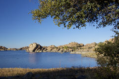 Scenic Watson Lake. Near prescott arizona with interesting granite rock formations along the shore Royalty Free Stock Photo
