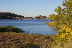 Scenic Watson Lake in Fall Stock Photography