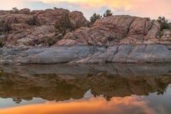 Scenic Watson Lake Prescott Arizona Sunset. A beautiful sunset reflection at Watson Lake Prescott Arizona Royalty Free Stock Photography