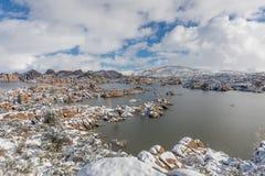 Scenic Watson Lake Prescott Arizona Winter Landscape. A snow covered winter landscape at Watson Lake Prescott arizona Stock Photography