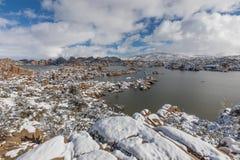 Scenic Watson Lake Prescott Arizona in Winter. A snow covered winter landscape at Watson Lake Prescott Arizona Stock Photo