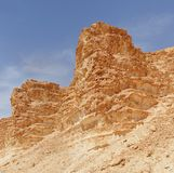 Scenic weathered orange rocks in stone desert. Near Barak canyon in Negev desert, Israel stock photo