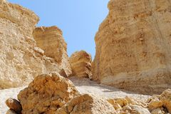 Scenic weathered orange rocks in stone desert. Near Nahal Barak in Negev desert, Israel stock photo